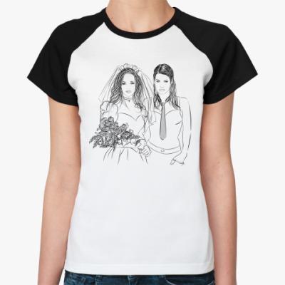 Женская футболка реглан Лесби Свадьба