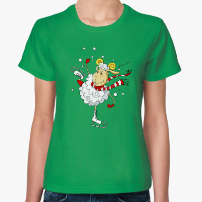 Женская футболка Овечка на коньках