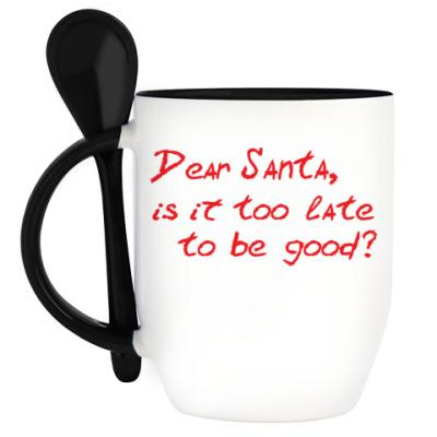 Кружка с ложкой Dear Santa, is it too late..?