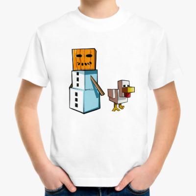 Детская футболка Новогодний Майнкрафт! Снеговик и утка