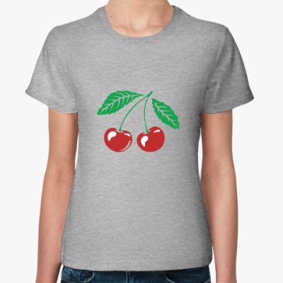 Женская футболка Вишенки