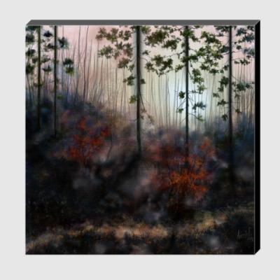 Холст Вечерний осенний лес