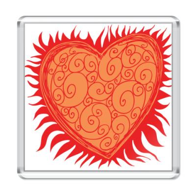 Магнит Сердце Огонь