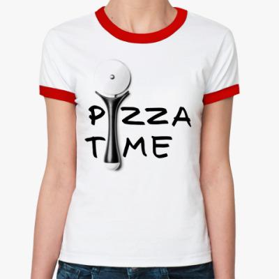 Женская футболка Ringer-T Pizza Time