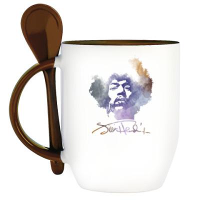 Кружка с ложкой  Jimi Hendrix - Джими Хендрикс