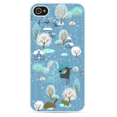 Чехол для iPhone Волк зимой...