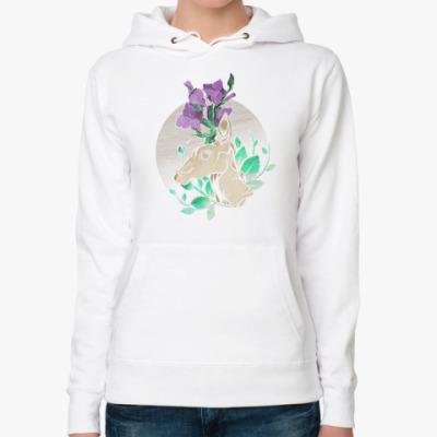 Женская толстовка худи Winter Gladiolus Deer/ Зимний