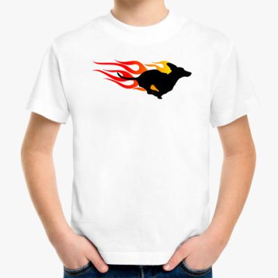 Детская футболка Dachshund In Flames
