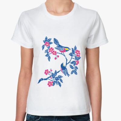 Классическая футболка Цветы и птичка