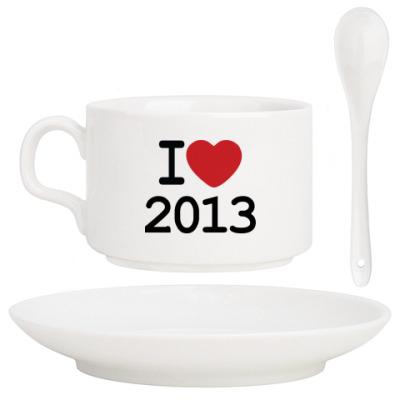 Кофейный набор Новогодний принт I Love 2013